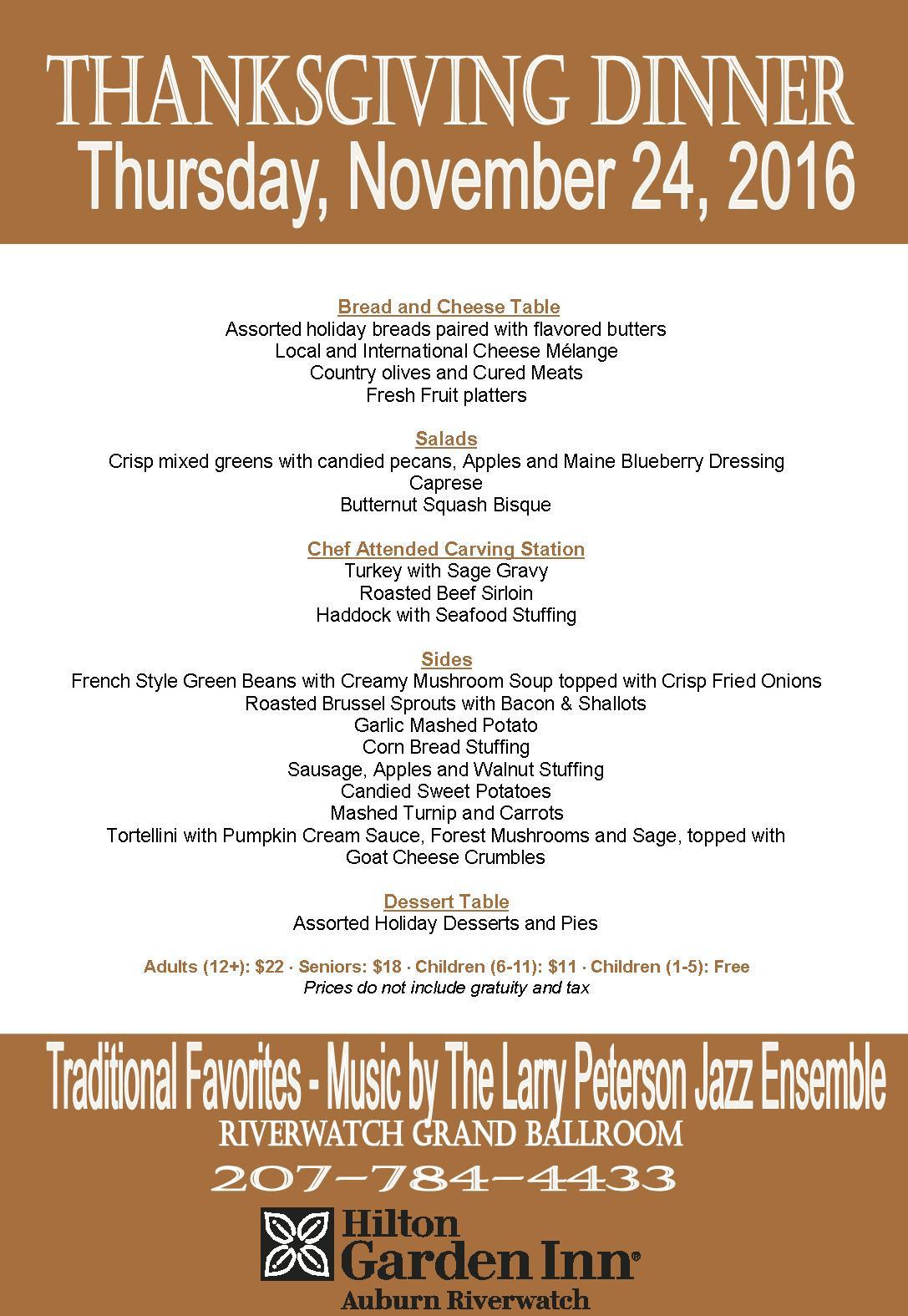 Traditional Thanksgiving Dinner Menu List  Traditional Thanksgiving Dinner Buffet Tickets Thu Nov
