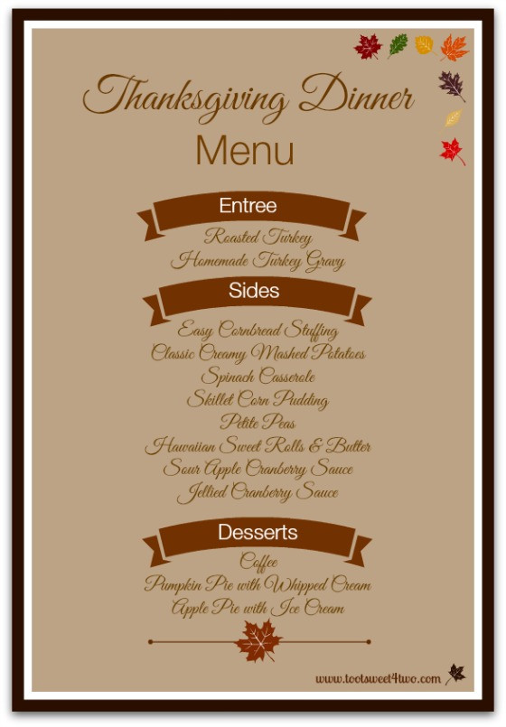 Traditional Thanksgiving Dinner Menu List  42 Items for Your Thanksgiving Dinner Shopping List Toot