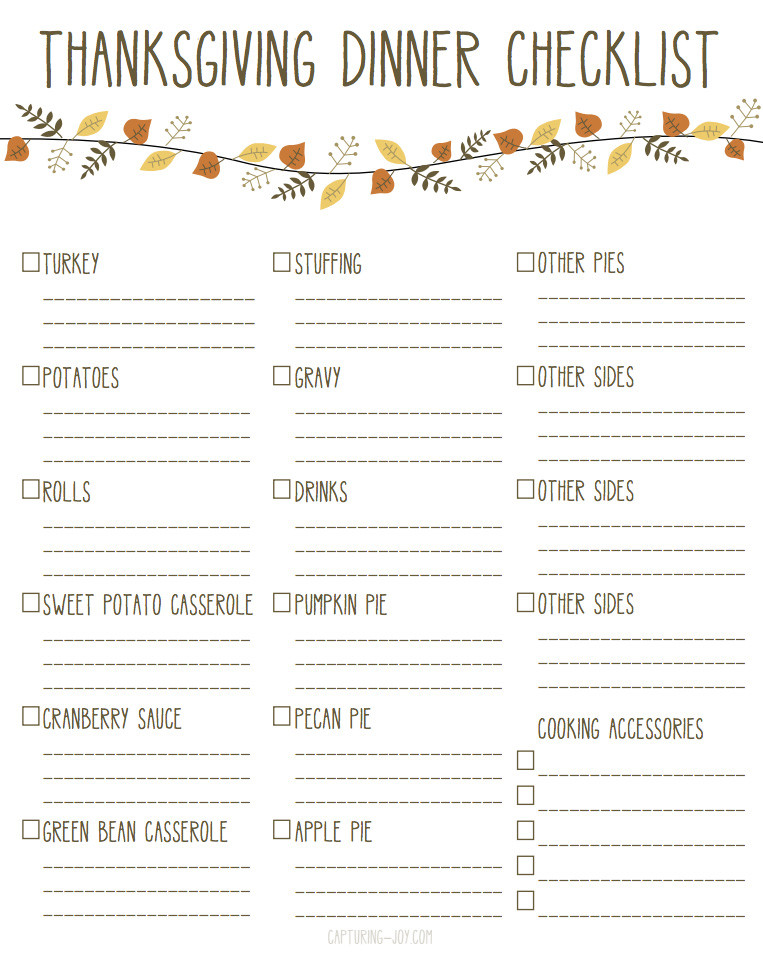 Traditional Thanksgiving Dinner Menu List  Printable Thanksgiving Dinner Checklist and Recipes