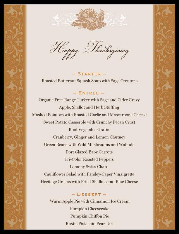 Traditional Thanksgiving Dinner Menu List  dinner menu list DriverLayer Search Engine