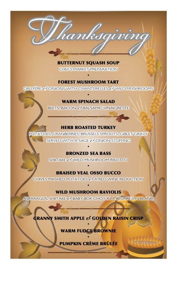 Traditional Thanksgiving Dinner Menu List  Holiday specials Thanksgiving dinner at Grasings