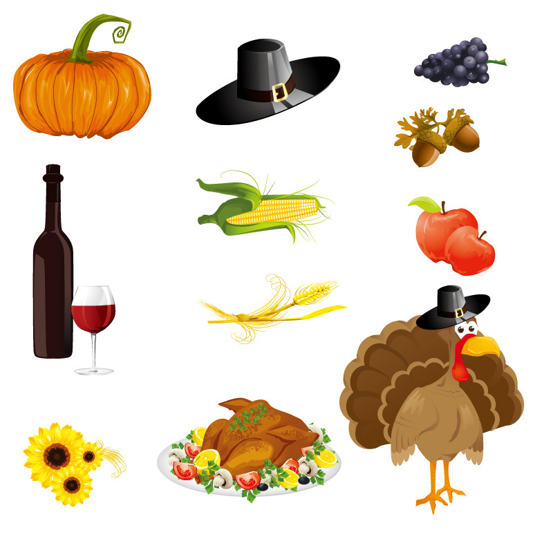 Turkey Icon For Thanksgiving  Thanksgiving Day Icons Vector
