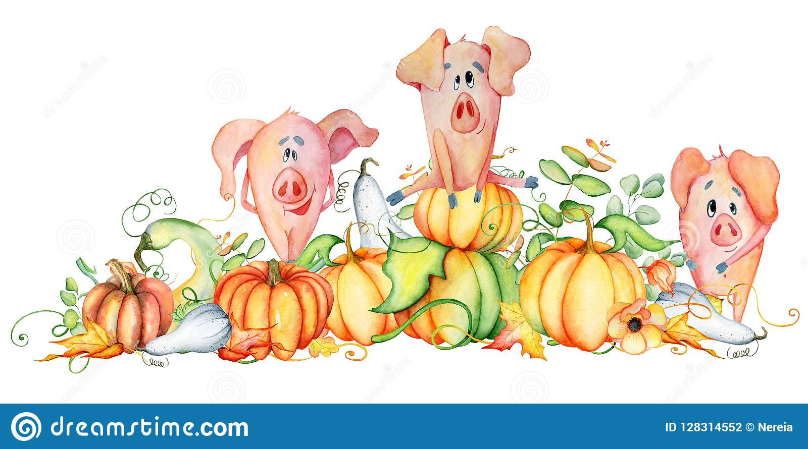 Turkey Prices For Thanksgiving 2019  Cute Pigs With Pumpkins Harvest Thanksgiving 2019 Template