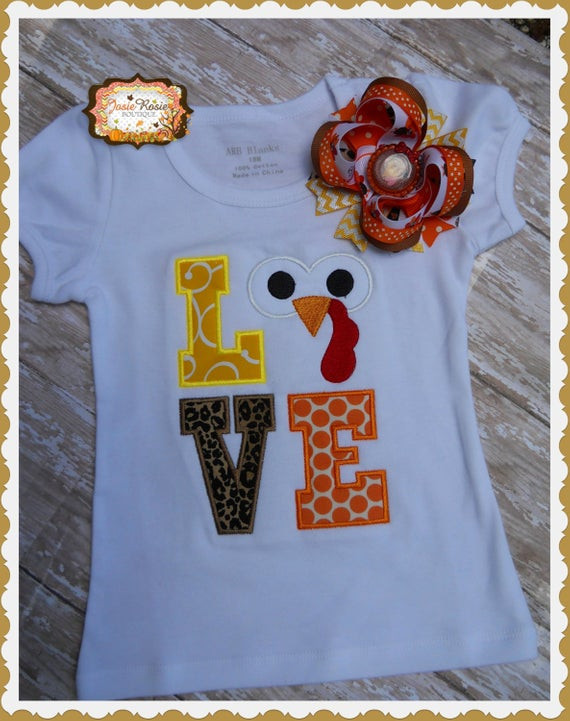 Turkey Shirts For Thanksgiving  Thanksgiving turkey love embroidered shirt Embroided tee