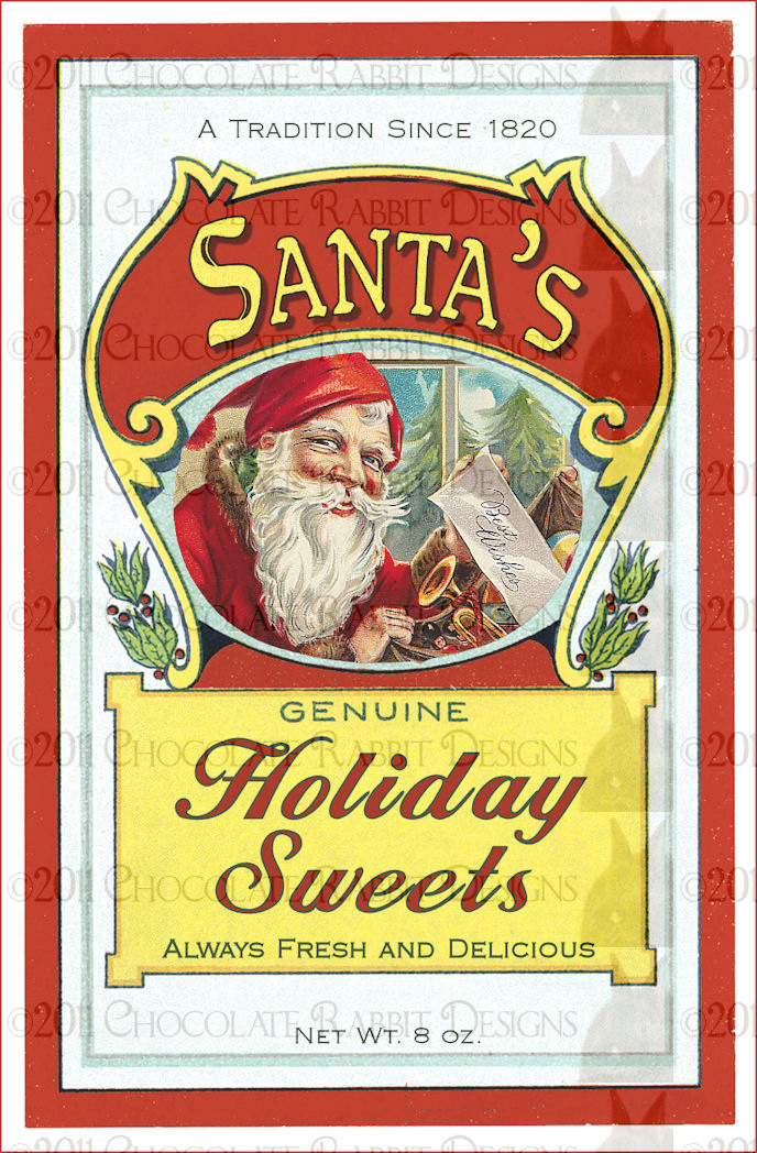 Vintage Christmas Candy  Christmas Candy Vintage Label Digital Download 300 Dpi