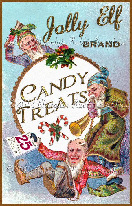 Vintage Christmas Candy  Christmas Vintage Label Tag Candy Digital Download Collage