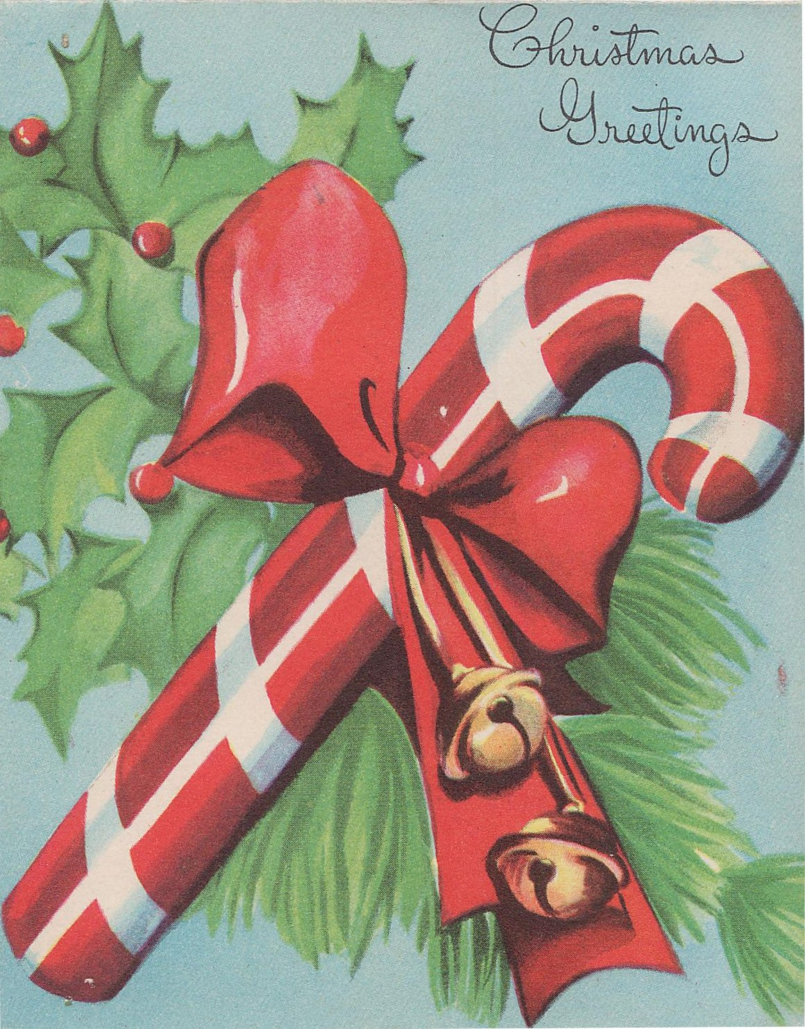 Vintage Christmas Candy  Candy Cane Vintage Christmas Card