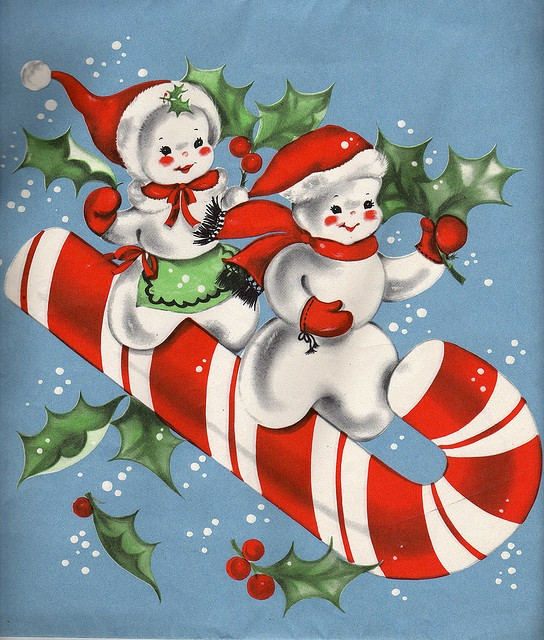 Vintage Christmas Candy  Snow couple on candy cane Vintage Christmas