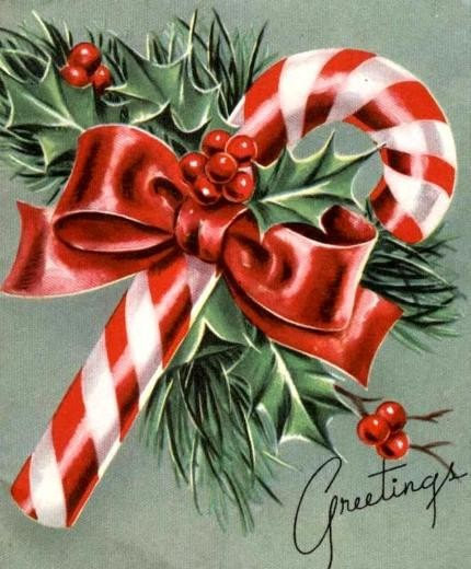 Vintage Christmas Candy  Candy Cane Vintage 1950 s Christmas Card
