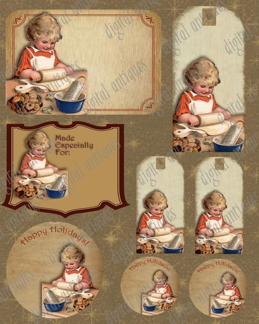 Vintage Christmas Cookies  Vintage Christmas Cookie Baking Tags Instant Digital Download