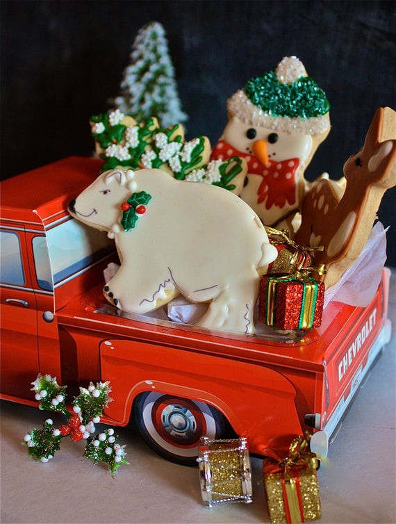Vintage Christmas Cookies  retro Christmas cookies 1957 Chevy truck vintage truck with