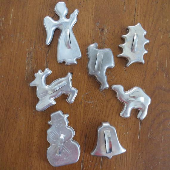 Vintage Christmas Cookies  Vintage Christmas Cookie Cutters Aluminum by shabbyshopgirls