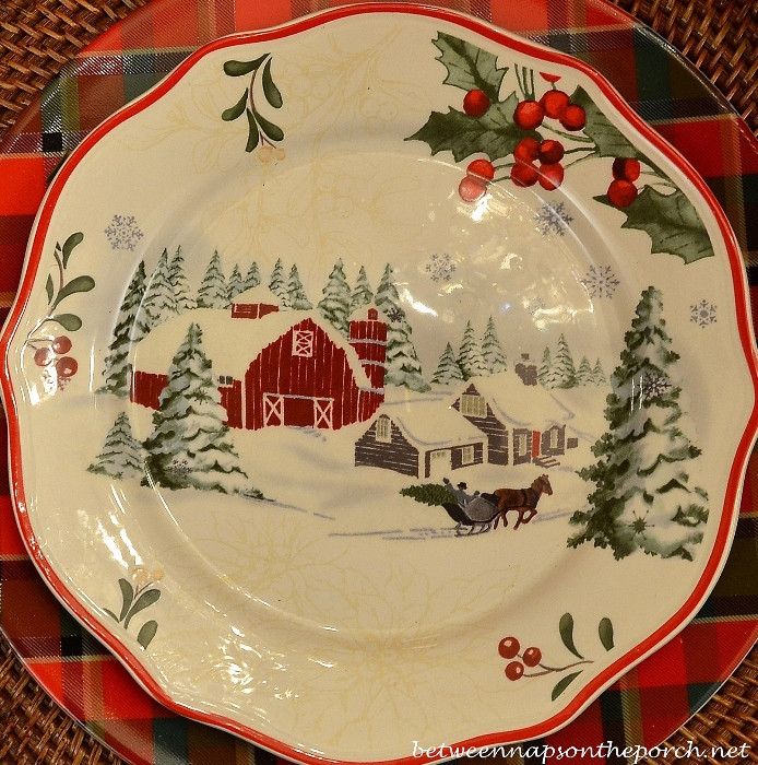 Walmart Christmas Dinners  Christmas Table Setting Tablescape with Plaid Plates and a