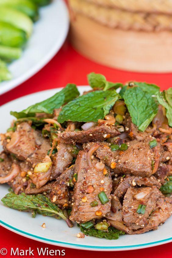 Waterfall Beef Salad  Thai Nam Tok Recipe น้ำตกเนื้อ Waterfall Beef Salad