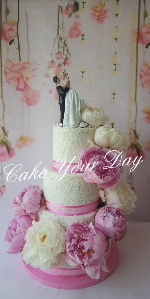 Waterfall Wedding Cakes  Peony waterfall wedding cake Cake by Cake Your Day