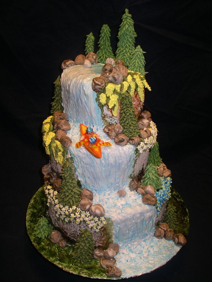 Waterfall Wedding Cakes  Great Adventure Trees and flowers are made of royal