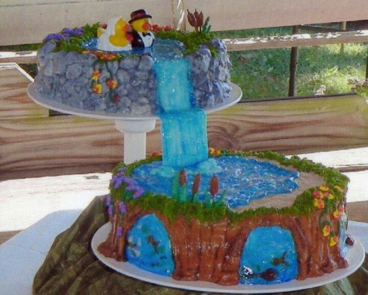 Wedding Cakes With Waterfalls  Waterfall wedding cake no fondant the fish are fruit