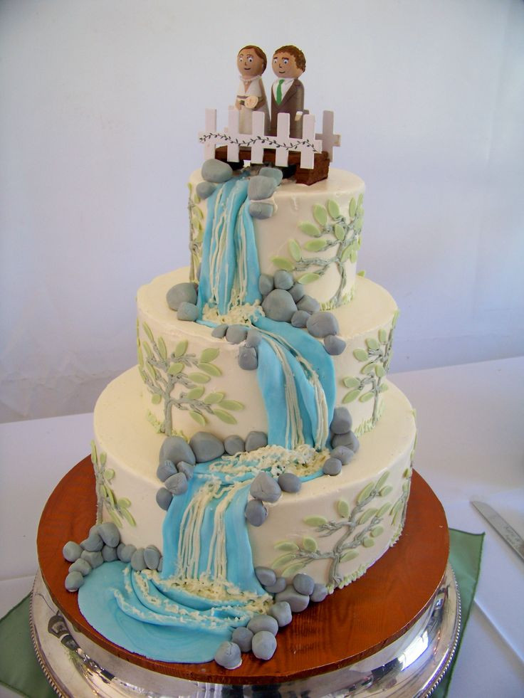 Wedding Cakes With Waterfalls  44 best rustic nature waterfall wedding cakes images on