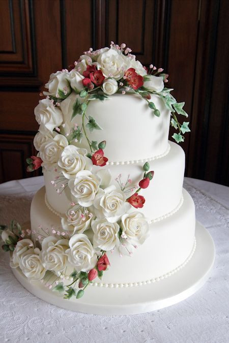 Wedding Cakes With Waterfalls  Emily Wedding Cake decorated with a waterfall of