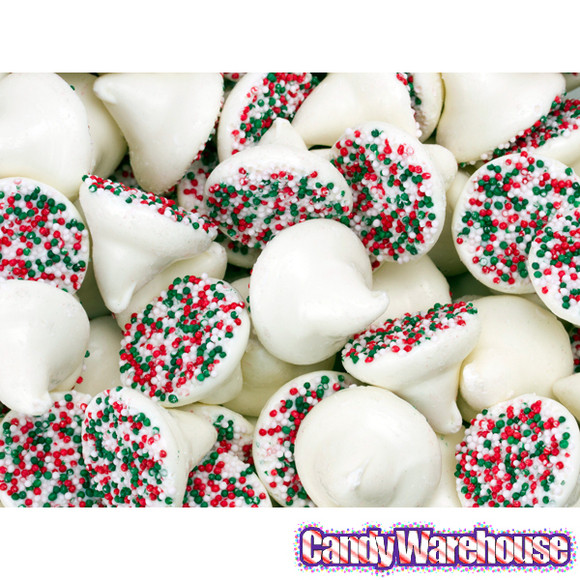 White Chocolate Christmas Candy  White Mint Chocolate Christmas Nonpareils Candy Drops 5LB