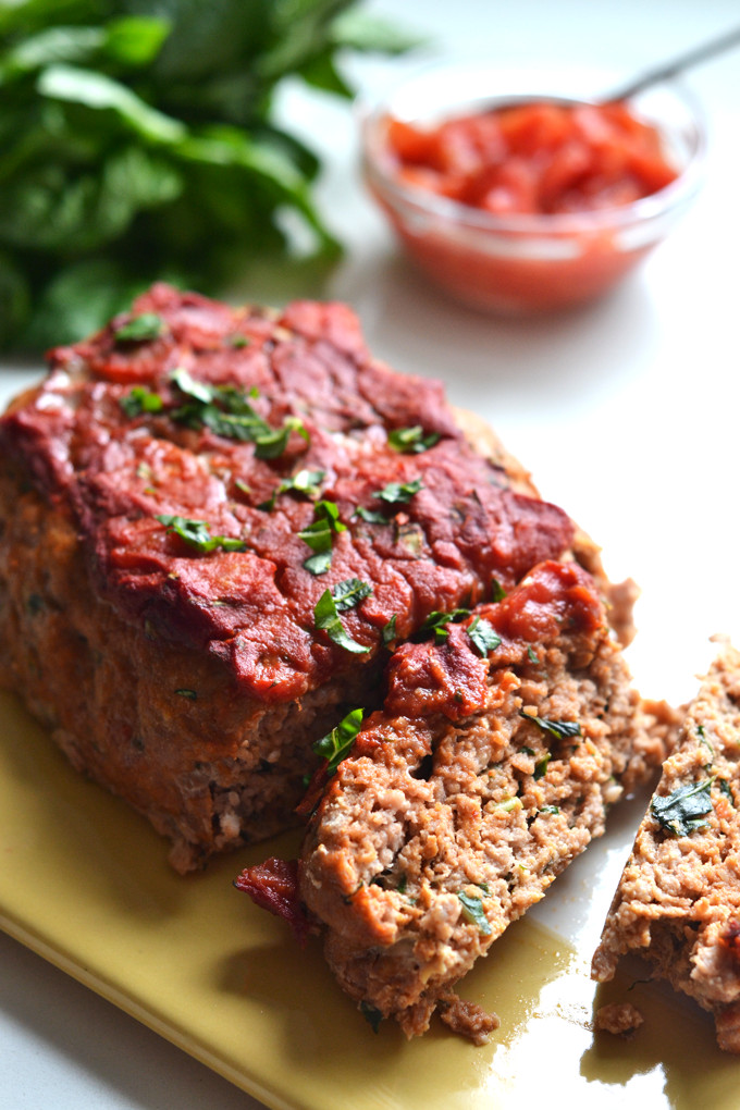 Whole30 Thanksgiving Recipes  Whole30 Tomato Basil Turkey Meatloaf – Little Bits of…