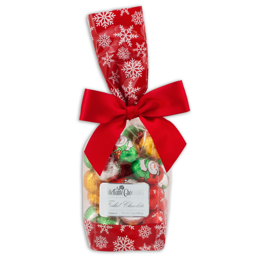 Wrapped Christmas Candy  Chocolate Christmas Candy Gift Bag 7oz Foiled Santas