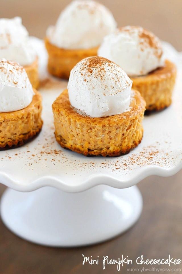 Yummy Fall Desserts  Mini Pumpkin Cheesecakes Yummy Healthy Easy